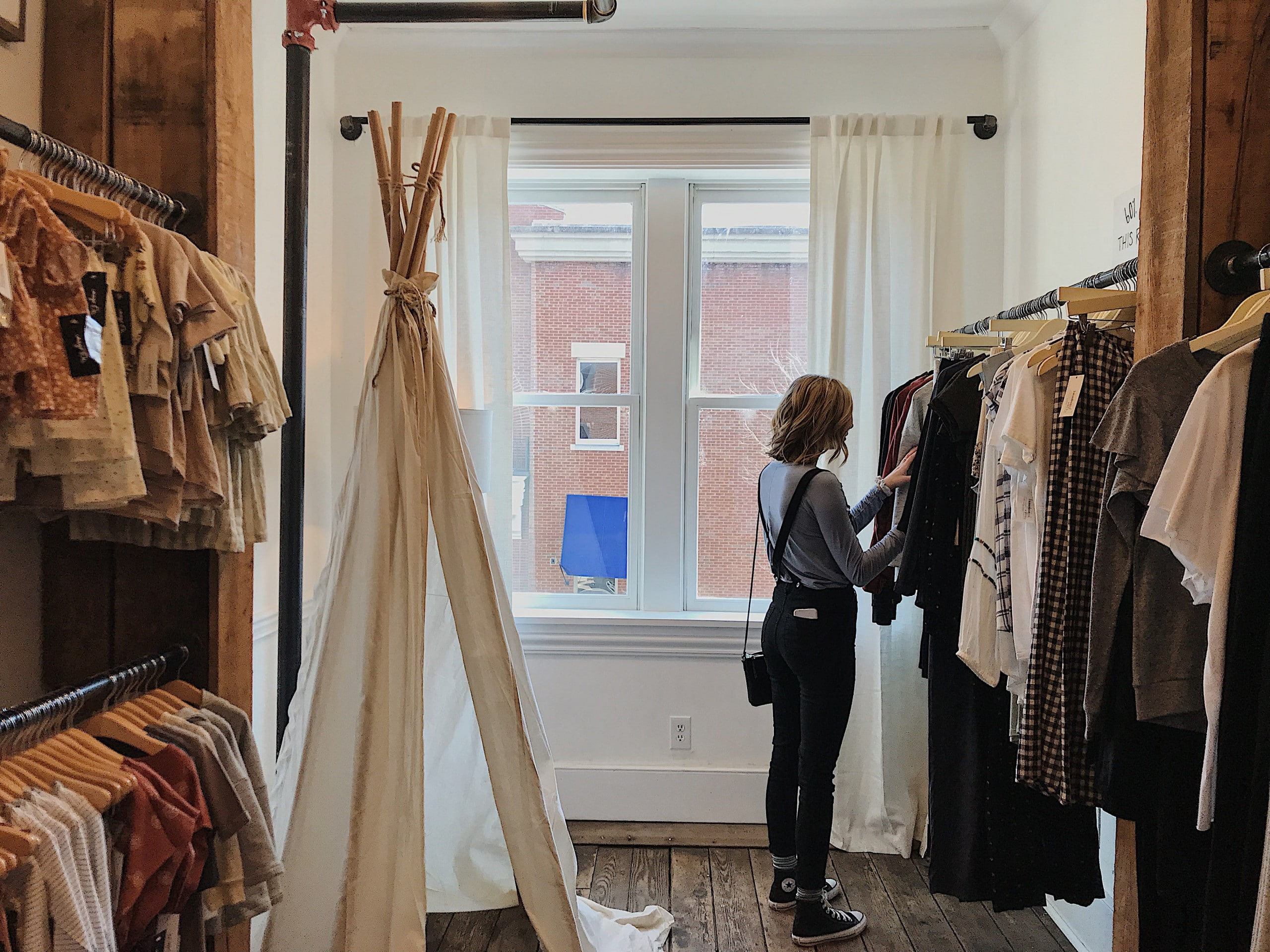 woman in a boutique store
